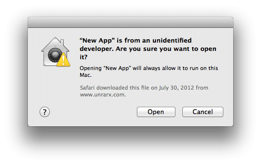 Mac os unidentified developer dialog box